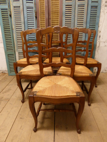 Great Set Of Six Antique French Dining Chairs - ca17